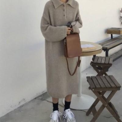 襟付き ニットワンピース 膝下丈 2色 グレー ホワイト 大人カジュアル 可愛い レディース ファッション 韓国 オルチャン