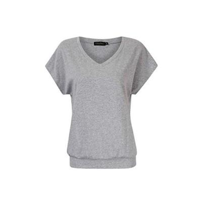 GloryStar Tシャツ レディース 半袖 ニットソー Vネック フレンチスリーブ 涼しげ トップス かわいい 薄手 体型カバー グレー