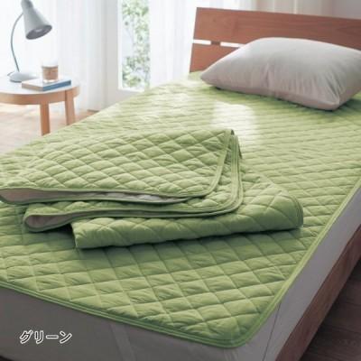 布団カバー シーツ 敷きパッド パッドシーツ 綿混素材の敷きパッド2枚セット カラー 「グリーン」