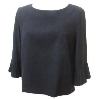 【中古】アンタイトル UNTITLED シャツ ブラウス 7分袖 七分袖 プルオーバー 袖プリーツ 黒 ブラック 2 Mサイズ相当 NVW X レディース 【ベクトル 古着】
