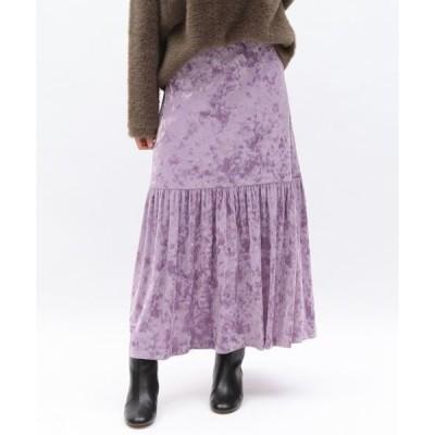 スカート クラッシュベロアパネルギャザースカート