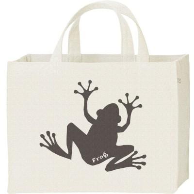 カエル(蛙シルエット)/キャンバスバッグ・スクエア カレッジバッグ