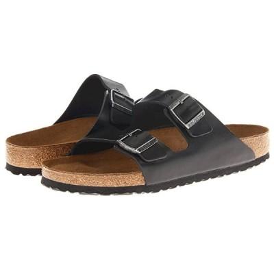 ビルケンシュトック Arizona Soft Footbed - Leather (Unisex) メンズ サンダル Black Amalfi Leather