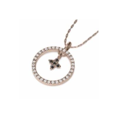 ペンダント ネックレス クロス十字架 ブラックダイヤモンド(黒ダイヤ) 4月の誕生石 10kピンクゴールド