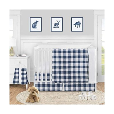 Sweet Jojo Designs Navy Buffalo Plaid Check Baby Boy Nursery Crib Bedding Set - 4 Pieces - Blue and White Woodland Rustic Country Farmhouse