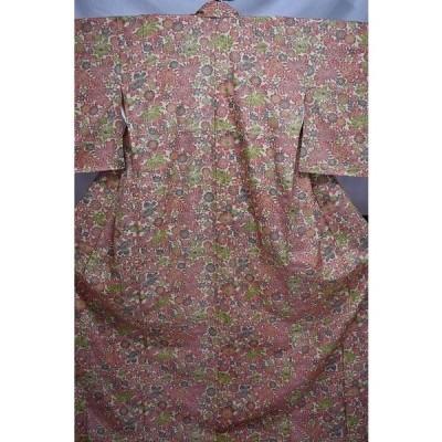 袷小紋 化繊 乳白色・赤・苔色 花柄 広衿 身丈157.5cm k42 中古美品