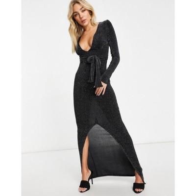 クラブエル ミディドレス レディース Club L London plunge glitter maxi dress in black  エイソス ASOS sale ブラック 黒
