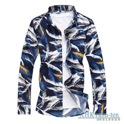 カジュアルシャツ アロハシャツ メンズ 長袖 シャツ 細身 トップス 柄物 ハワイ 春物 キレイめ 父の日 2020 新作