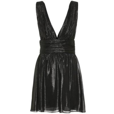 イヴ サンローラン Saint Laurent レディース ワンピース ミニ丈 ワンピース・ドレス metallic silk-blend minidress Noir