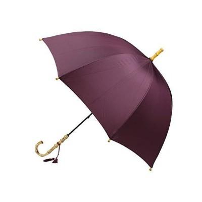 [ワカオ] レディース 雨傘 長傘 バンブーハンドル 深張り 丸み 大判 天然木 日本製 (ボルドー)