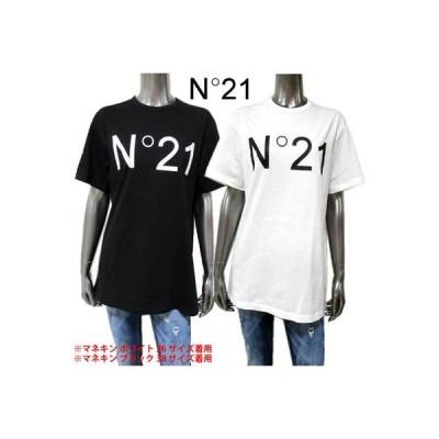 ヌメロンベントゥーノ N°21 レディース トップス Tシャツ 半袖 ロゴ 2color フロントN°21ロゴプリント付きTシャツ 白/黒 F051 6314 1101 (R27500) 02A