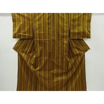 リサイクル 縞模様織り出し手織り紬着物アンサンブル