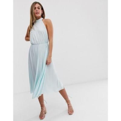 エイソス ASOS DESIGN レディース ワンピース ミドル丈 ワンピース・ドレス Halter Pleated Waisted Midi Dress ミント