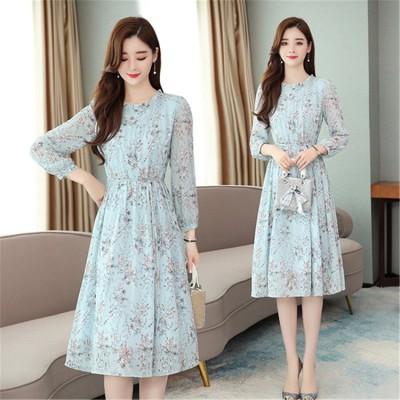 人気のレディース がお買い得 魅力を引き立せる シフォンワンビース 気持ちいい、デート必需品ワンビース ヴィンテージ 花柄 甘い ドレス