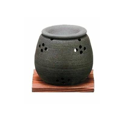 常滑焼 石龍窯 茶香炉 まる 焼杉板付 サイズ 10×10cm
