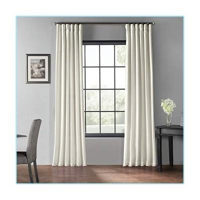 新品HPD Half Price Drapes PDCH-KBS2BO-120 Blackout Vintage Textured Faux Dupioni Curtain (1 Panel), 50 X 120, Off White