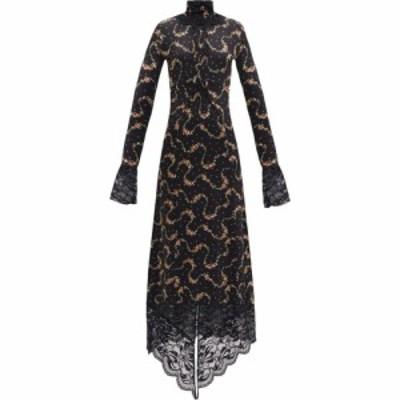パコラバンヌ Paco Rabanne レディース ワンピース マキシ丈 ワンピース・ドレス Floral-print lace-trim maxi dress Black