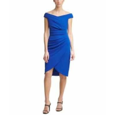 カルバンクライン レディース ワンピース トップス Off-The-Shoulder Ruched Scuba-Crepe Sheath Dress Regatta Blue