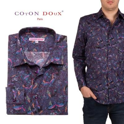 メンズ 長袖シャツ 柄シャツ パープル オフィスカジュアル デザインシャツ ブランド バード CotonDoux コトンドゥ m01ad1834pbird