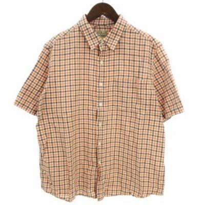 【中古】エルエルビーン L.L.BEAN シャツ 半袖 チェック 理念 コットン混 オレンジ 茶 ブラウン系 L ■SM メンズ