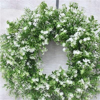 クリスマス花輪 満天星 緑の葉 草 フェイクグリーン 直径35cm 枯れない花 壁掛け アートフラワー ホーム装飾 玄関 リビング 墓花