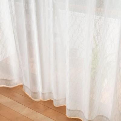 ミラーレースカーテン/オフホワイト/幅100×丈93(2枚組)