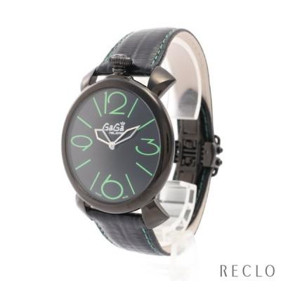 ガガミラノ GaGa MILANO MANUALE THIN 46MM マヌアーレ シン メンズ 腕時計 クオーツ SS レザー ブラック ブラック文字盤 2092.02 メンズ 中古