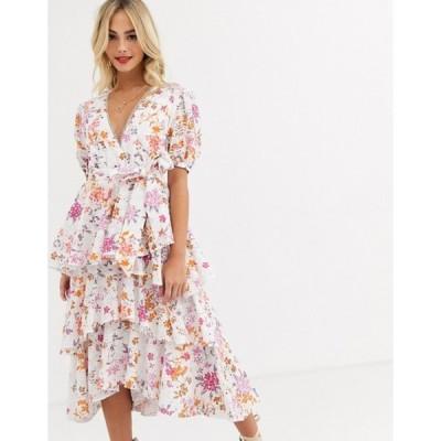 テルーラ レディース ワンピース トップス Talulah jasmine vines floral embroidered tiered midi dress