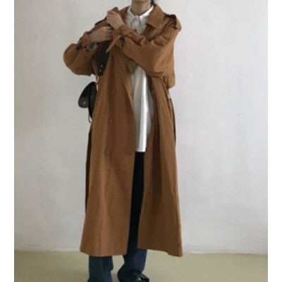 トレンチコート ロングコート アウター オーバーサイズ ゆったり 長袖 大人可愛い カジュアル 韓国 オルチャン ファッション