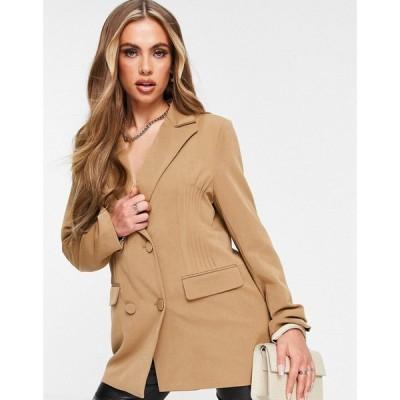 フォース&レックレス 4th & Reckless レディース スーツ・ジャケット ブレザー アウター Stitch Detail Oversized Blazer Dress In Camel キャメル