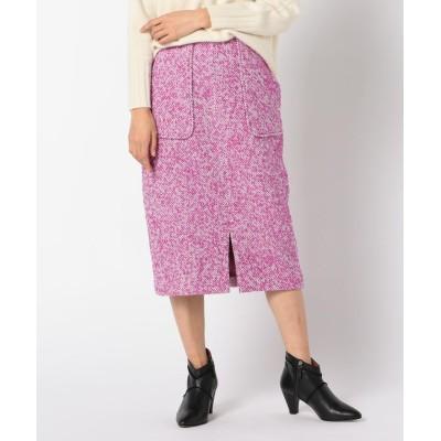 (NOLLEY'S/ノーリーズ)ループへリンボンツイードスカート/レディース ピンク