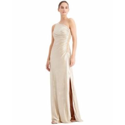 カルバンクライン レディース ワンピース トップス One-Shoulder Metallic Gown Gold