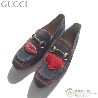 グッチ(GUCCI) ホースビット チェック エンブロイダリー ローファー 靴 シューズ 431334 #5.5 新品同様 中古