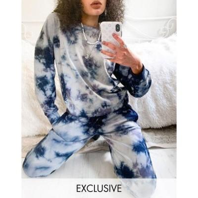 ノイジーメイ レディース パーカー・スウェットシャツ アウター Noisy May exclusive sweater in blue and white tie dye Blue tie dye