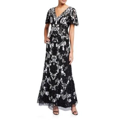 アイダンマットックス レディース ワンピース トップス Beaded V-Neck Short-Sleeve Gown