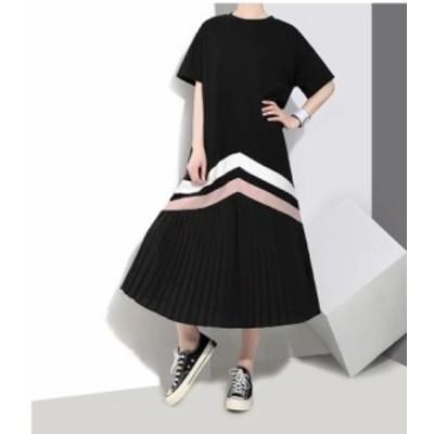 ポイントカラーが可愛い モダンカジュアル 裾プリーツ デザインワンピース y203
