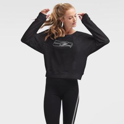 ダナ キャラン ニューヨーク レディース Tシャツ トップス Seattle Seahawks DKNY Sport Women's Lauren Mesh Raglan Long Sleeve T-Shirt