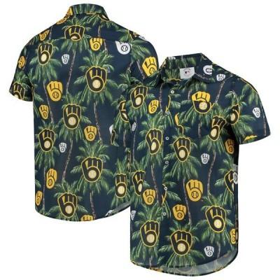 ブリュワーズ MLB ボタンシャツ FOCO ネイビー メンズ 半袖 Palm Tree Button Up Shirt
