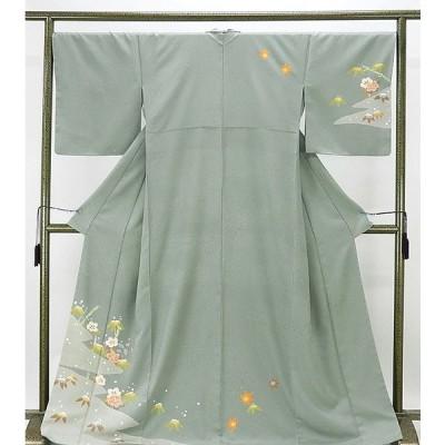 訪問着 新品仕立済 正絹 椿笹竹模様 訪問着 新品  仕立て上がり  着物