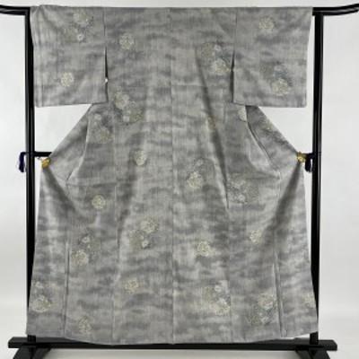 結城紬 逸品 草花 灰色 袷 身丈158cm 裄丈63cm S 正絹 中古