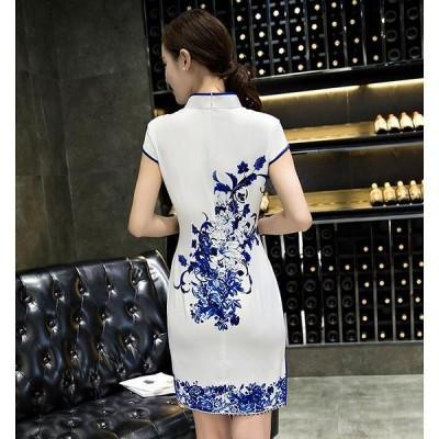 卸売可半袖中華風結婚式レディースチャイナードレス花柄パーティーショート丈スリットワンピドレス膝上ミニパーティーワンピースチャイナ服  641