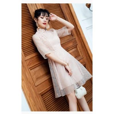 Aライン オーガンジー チャイナ ドレス 総レース 花柄 刺繍