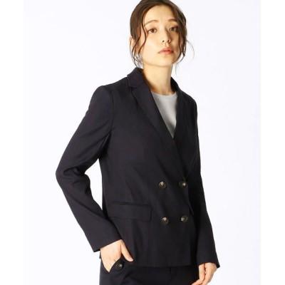 COMME CA ISM/コムサイズム 《リネンミックス》ダブルブレスト テーラードジャケット ネイビー S