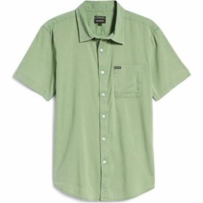 ブリクストン BRIXTON メンズ 半袖シャツ ワイシャツ トップス Charter Oxford Woven Short Sleeve Button-Up Shirt Green