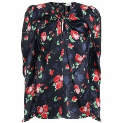 マグダ ブトリム Magda Butrym レディース ブラウス・シャツ トップス Caserta floral silk-jacquard blouse Navy