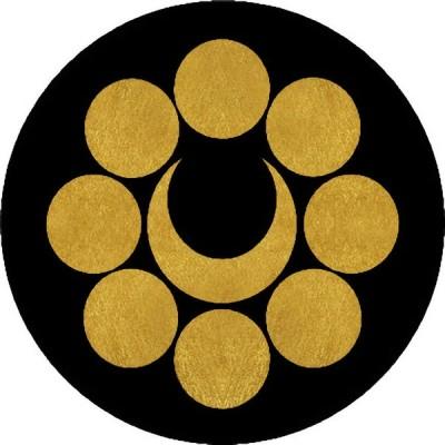 家紋シール 八曜に月紋 直径4cm 丸型 4枚セット KS44M-3766