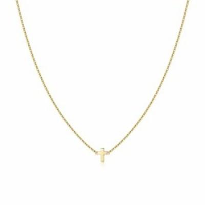 Turandoss 十字架ネックレス 女性用 14K金張り 小さなクロスペンダント シンプルな横向きのクロスネックレス 女性用ジュエリーギフト 14