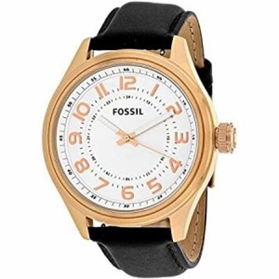 Fossil メンズ クラシックダイヤルレザーストラップウォッチBq2245 白