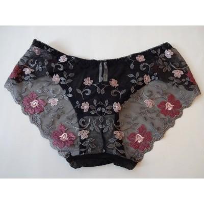 花びら刺繍ショーツ、春爛漫ブラック系、綺麗!