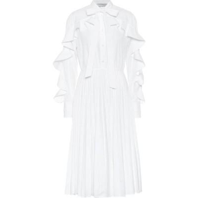 ヴァレンティノ Valentino レディース ワンピース ミドル丈 ワンピース・ドレス Ruffled cotton-blend midi dress Bianco